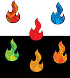Set of colorful fire flames. Set of fire flames with different color gamma Royalty Free Stock Images