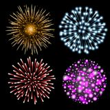 Set of colorful fireworks. Set of festive patterned salute bursting in various shapes against black background. Bright decoration Christmas card,New Year Royalty Free Stock Photography