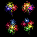 A set of colorful fireworks in honor of the holiday on a black background. illustration. A set of colorful fireworks in honor of the holiday on a black Stock Image