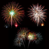 Set of colorful fireworks light on the black sky Stock Photo