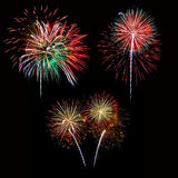Set of colorful fireworks light on the black sky Royalty Free Stock Image