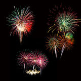 Set of colorful fireworks light on the black sky Royalty Free Stock Photo