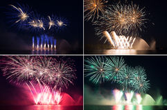 Set of colorful fireworks in a night sky Royalty Free Stock Image