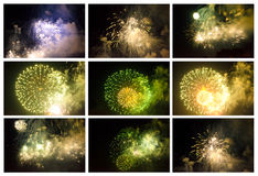 Set of Colorful Fireworks in the Night Sky Royalty Free Stock Photo