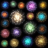 Set of colorful fireworks. Vector illustration. Set of colorful fireworks. Vector illustration Royalty Free Stock Photo