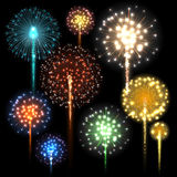 Set of colorful fireworks. Vector illustration. Set of colorful fireworks. Vector illustration Stock Photo
