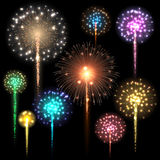 Set of colorful fireworks. Vector illustration. Set of colorful fireworks. Vector illustration Royalty Free Stock Images