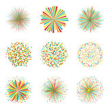 Set of colorful fireworks on white background, vector. Collection of colorful fireworks on white background, vector illustration Stock Image