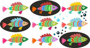 Set of colorful fish. Decorative illustration of underwater life Stock Images