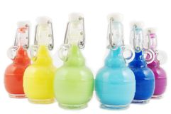 Set of Colorful flasks. Colorful closed flask disposition, from red to purple Stock Photography