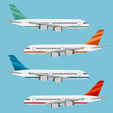 Set of colorful flat airplanes. Royalty Free Stock Photos