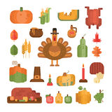 Set of colorful flat geometric icons for Thanksgiving day. Collection of colorful flat geometric icons for Thanksgiving day. Pumpkin and turkey symbols for Stock Photography