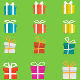Set of colorful flat gift boxes. vector Royalty Free Stock Images