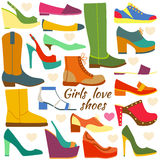 Set of colorful flat icons. Different women shoes. Vector illustration Royalty Free Stock Photo