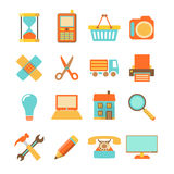 Set of colorful flat icons on white background. Set of colorful flat icons isolated on white background, vector illustration Royalty Free Stock Photography