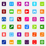 Set of colorful flat media icons Stock Photos