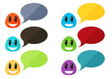 Set of 6 colorful flat monsters with speech bubbles Stock Photos