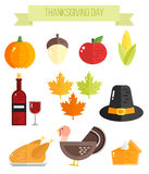 Set of colorful flat thanksgiving elements. Pumpkin, maple leaves, apple and turkey Stock Photo