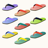 Set of colorful flip flops Stock Photography