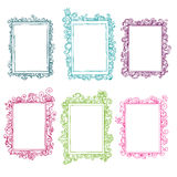 Set of colorful floral doodle frames. Collection of colorful hand drowing floral frames Stock Photography