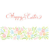 Set of colorful floral elements and red lettering Happy Easter Stock Photography