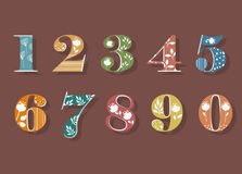 Set of Colorful Floral Numerals stock photo