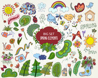 Set of colorful Floral Spring elements in outline doodle style Royalty Free Stock Photography