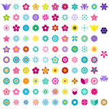 Set of colorful flower icons Stock Photo