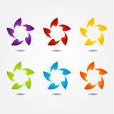 Set of colorful flower logos Royalty Free Stock Photos