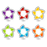 Set of colorful flower logos Stock Images