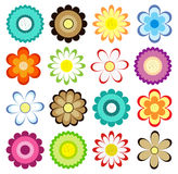 Set of colorful flowers icons. Stock Photos