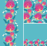 Set of colorful flowers seamless pattern and Royalty Free Stock Image