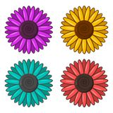 Set of colorful flowers. Vector royalty free illustration
