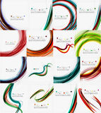 Set of colorful flowing motion abstract. Backgrounds. Smooth futuristic wave layouts. Business, technology message, presentation or identity Stock Image
