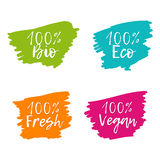 Set of colorful Food Badges. 100% Bio, Eco, Vegan, Fresh. Vector hand drawn labels Royalty Free Stock Images