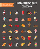 Set of colorful food and drinks icons. Flat style design isolated icons with long shadow. Royalty Free Stock Photos