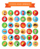 Set of colorful food and drinks icons. Flat style. Design isolated icons with long shadow. Vector illustration royalty free illustration