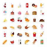 Set of colorful food and drinks icons. Flat style Stock Image