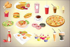 Set of colorful food icons.vector file eps10 Royalty Free Stock Photography