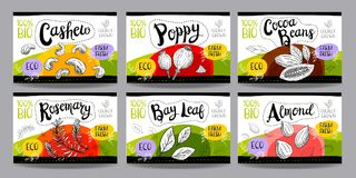Set of hand drawn food labels, spices labels, fruit labels, vege Stock Photo