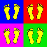 Set of 4 colorful foot steps. Vector illustration Stock Photo