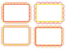 Set of colorful frames. Set of four decorated colorful frames Stock Photo