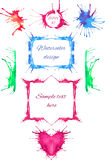 Set of colorful frames and frame elements. Made of blots of paint Royalty Free Stock Photo
