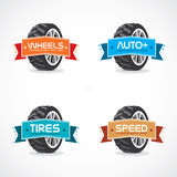 Set of Colorful Frames, Stickers, Labels, Icons,,. Set of Colorful Wheel Signs with Frames for Car Industry Royalty Free Stock Photo
