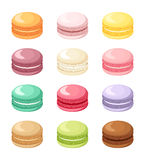 Set of colorful French macaroon cookies isolated on white. Vector illustration. Royalty Free Stock Photography