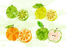 Set of colorful fresh fruit stains Royalty Free Stock Image