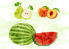 Set of colorful fresh fruit stains Stock Photography