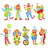 Set Of Colorful Friendly Clowns In Classic Outfits Royalty Free Stock Images