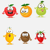 Set of colorful fruit characters. Royalty Free Stock Photo