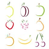 Set of colorful fruit icons Royalty Free Stock Photography